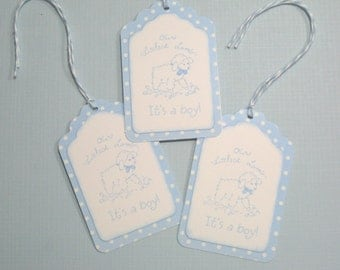 Set of 10 Blue and White Baby Shower Tags with Baby Lamb- It's a Boy Tags - Gift Tags - Favor Tags