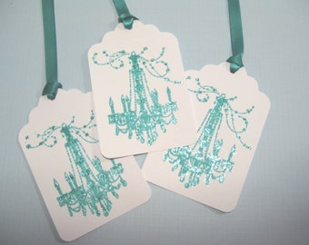 10 Teal Aqua Blue White French Chandelier Wedding Tags- Paris Wedding - Thank You Tags - Bridal Shower Tags - Quince Favor Tags - Gift Tags