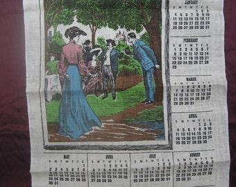 Harpers 1880 Linen Wall Calendar Tea Towel