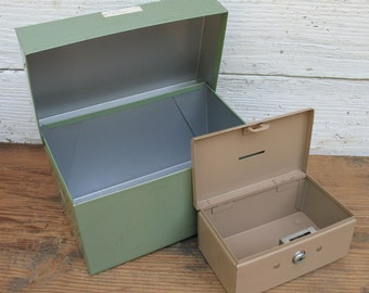 Small Metal File / Recipe Box and Small Metal Money Box
