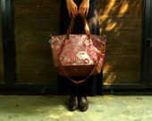 Fabric Bag Tote ( Handmade printed woodblock ) in Reverie of Happiness, Kasploy K19