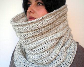 Pearl grey Rib High Fashion Cowl  Soft mixed Wool Neckwarmer Woman/Men  Original   Cowl NEW