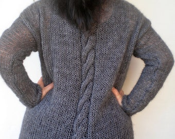 Grey Cabled Cardigan Sweater Trendy  Mohair  Hand Knit Woman Plus Size Cardigan  NEW