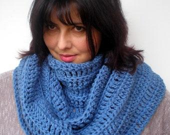 Denim Blue  Fashion Circle Scarf Crocheted mixed Wool Scarf Woman Circle Scarf New