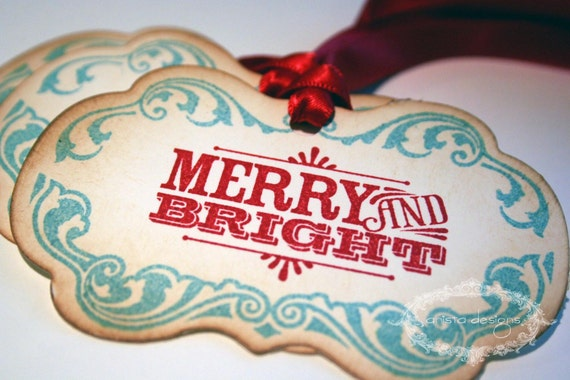 Christmas Tags - Retro Merry and Bright  -  Set of 25