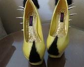 High Heel Platform Spiked Women Shoes Lemon Yellow with Mink Fur size 7 1/2...A SpikesByG Design