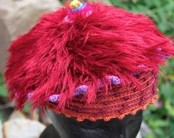 Funky Fuzzy Orangy Crochet Hat...