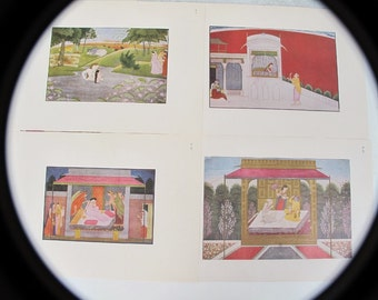 Six Prints, Plates of Chamba School Paper Miniature Paintings from Lalit Kala Akademi Portfolio 18, 1979