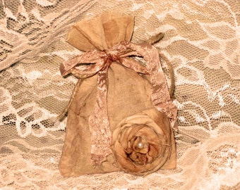 Lavender Sachet -  French Lavender Hand Dyed and Hand Distressed Seam Binding, Twine and Flower with Pearl PARIS MARKET (SachHD005)