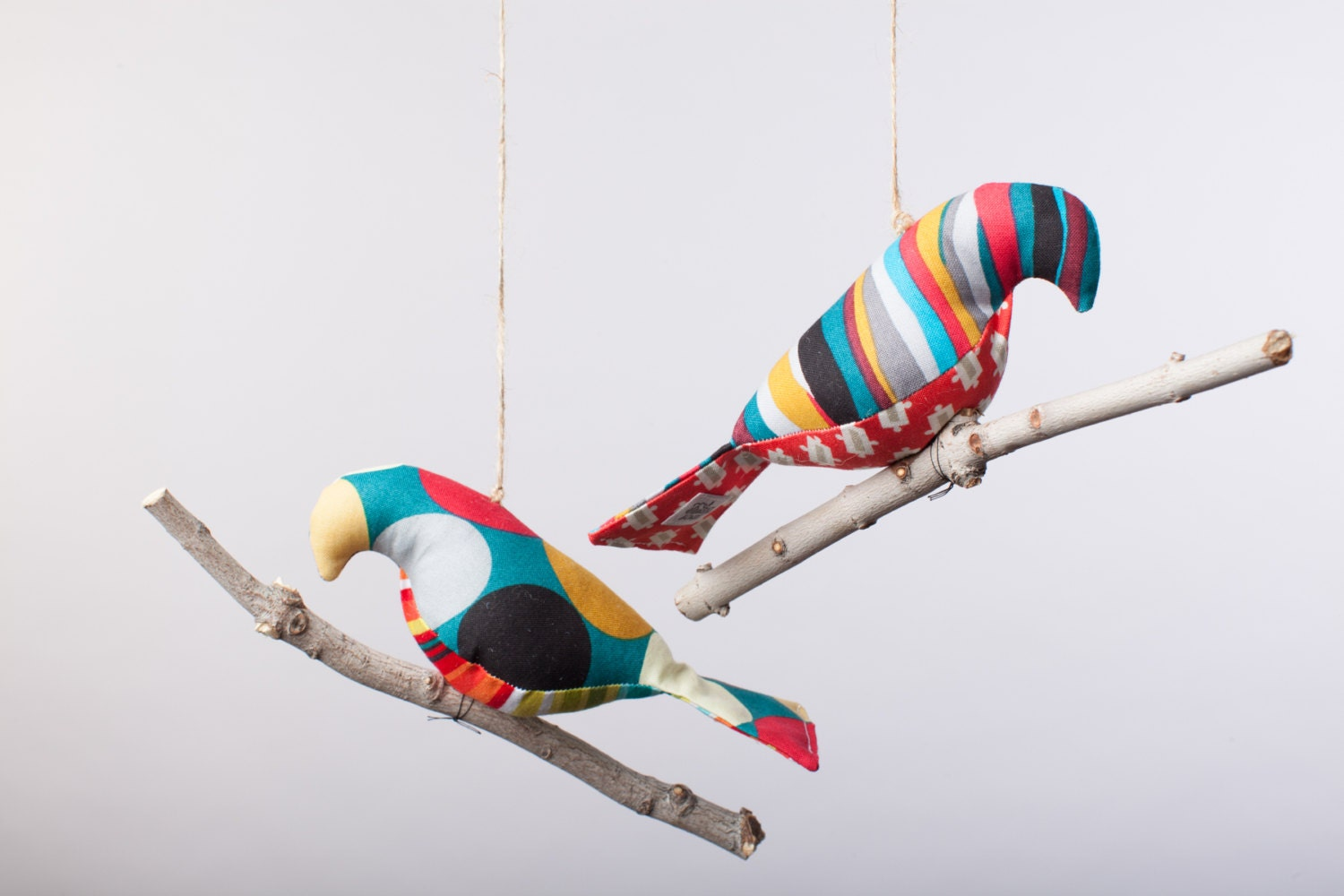 Bird on a Twig in Bold Red, Blue, Grey and Gold prints