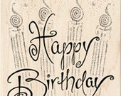 HAPPY BIRTHDAY CANDLES - Rubber Stamp - Inkadinkado Birthday Celebration Wood Mounted Rubber Stamp, card making, birthday rubber stamp