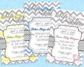 Sip & See Party Baby Shower Invitation Printable Chevron Polka Dot Pink Blue Yellow You choose