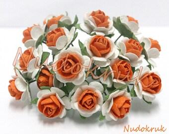 100 White - Orange Mulberry Paper Rose Flower handmade size 1.5 cm. ,scrapbooking , card , wedding