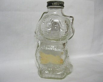 Grapette Family Beverage Syrup Kitty Cat Clear Glass Bank Collectible Hard to Find Bank with Original Grape Color Grapette Slotted Bank Lid
