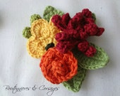 Crochet Boutonnieres & Corsages # 1 - crocheted flower ensemble - flower brooch navy and mustard