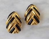 80s 90s Art Deco Black Enamel Herringbone St. John Clip Earrings Gold