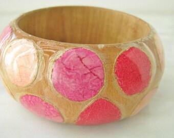 60s  Pink Red Wooden Polka Dot Bracelet Bangle Tropical