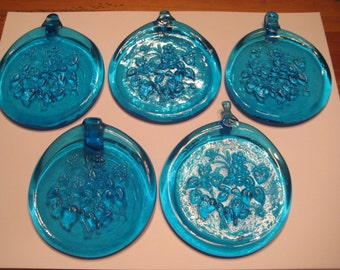 5 Blue Blown Glass Medallions with Floral Motif