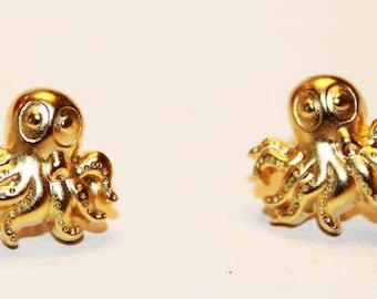 Gold Octopus Button Earrings
