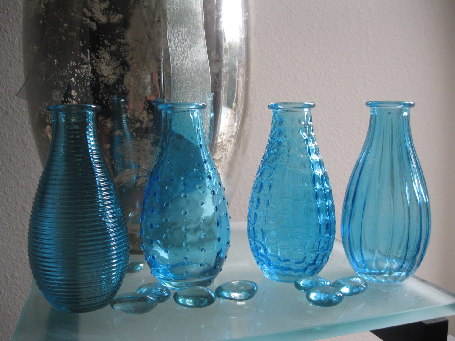 4 blue decorative colored glass bottles floral by