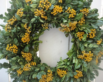 Dried Boxwood Wreath With Dried Yarrow  Natural Wreath     Autumn Wreath   Fall and Autumn Wreath  Hand Crafted Wreath