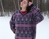 Vintage Womans Plaid Knit Sweater size 3x Purple Pink and White  Plus size / Oversize / Winter / 90s / Snowflake motif