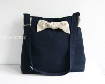 SALE - Navy Blue Canvas Bag / Messenger Bag / Diaper bag / Tote / Shoulder / Cute Bow / Hobo / Unisex - Sydney