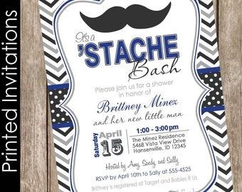 Printed Chevron Stache Bash Baby Shower Invitation, mustache invitation, little man invitation, mustache, black, gray, navy(FREE ENVELOPES)