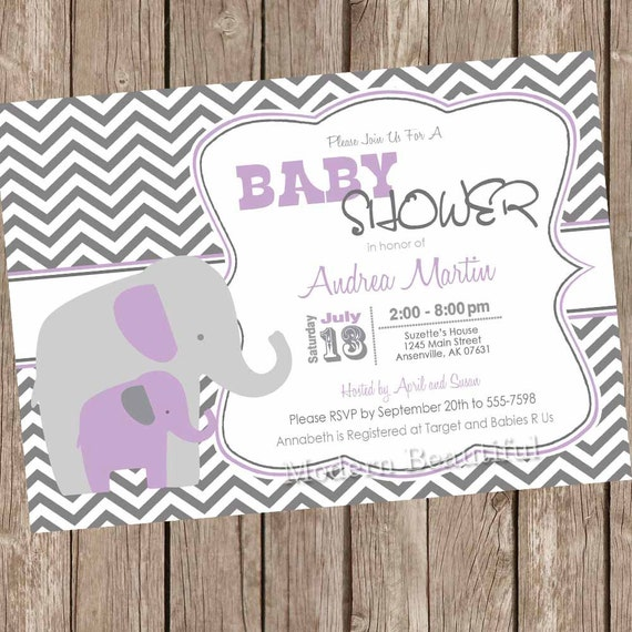 Purple and gray girl elephant baby shower invitation purple grey il570xn filmwisefo