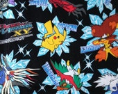 SALE Pocket Monsters printed fabric Pokemon black colour half yard