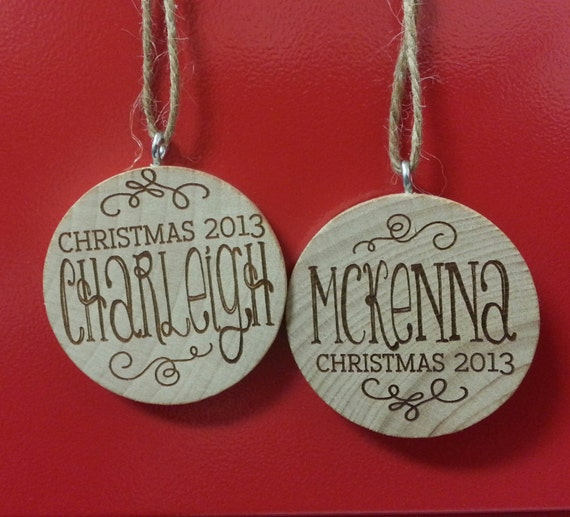 personalized ornament engraved wooden christmas ornament