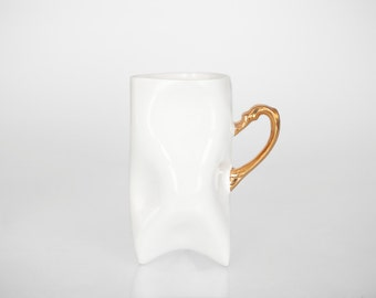Porcelain cup - white with gold, ceramic cup handmade for coffee or tea by Endesign