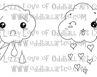 Digi Stamp Digital Instant Download Kawaii Clouds Happy & Sad Image No. 14A and 14B by Lizzy Love