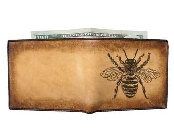 Mens Wallet - Engraved Leather Wallet - Groomsmen Gift - Fat Bee