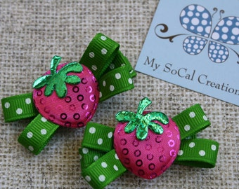 LAST ONE-Strawberry Mini Bow Hair Clip Set/No Slip Hair Clips/Pigtails