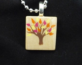 Hand painted fall leaves scrabble tile pendant
