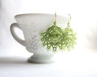 Spring Green Tatting Lace Frilly Dangle Turquoise Beaded Earrings