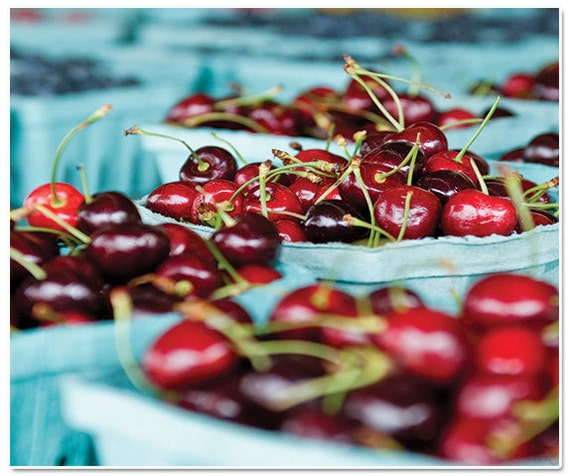 Photograph, farmers market, roadside stand in North Carolina,Cherries at the Market