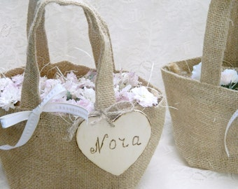 Burlap small/tiny  Flower Girl Basket Personalized Wooden Heart , Rustic, Shabby Chic bridesmaid favor bag