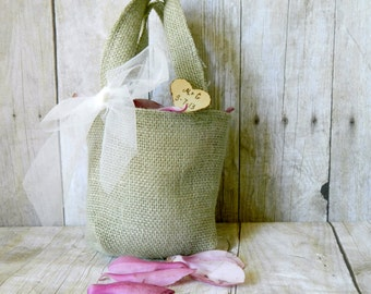 Burlap Flower Girl Small Bag  light green burlap Personalized Wooden Heart , Rustic, Shabby Chic bridesmaid favor bag