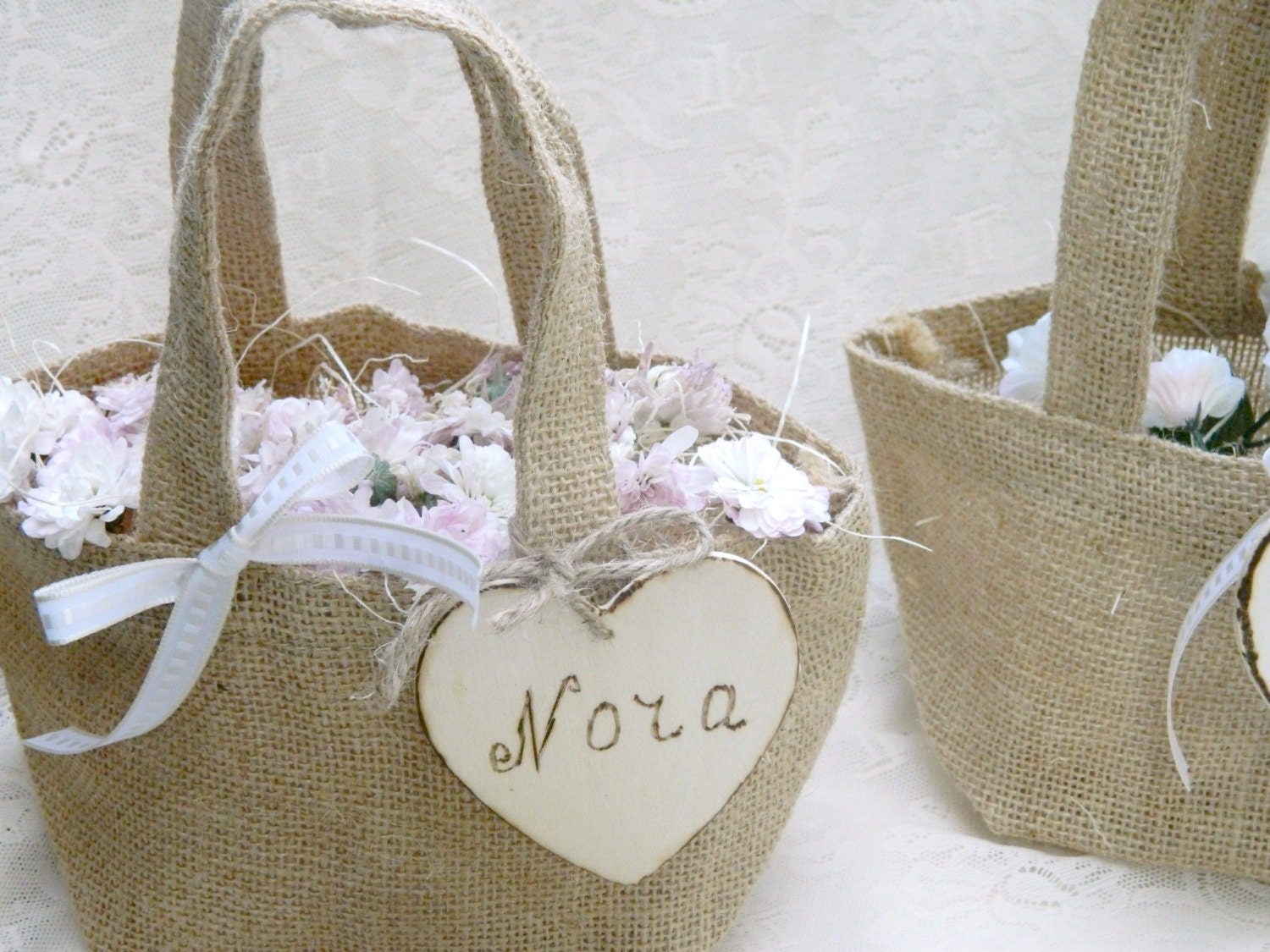 Flower Girl Baskets Small : Burlap small tiny flower girl basket personalized by modern
