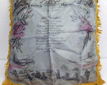 Vintage WWII Marines Semper Fi Rememberance Silk Pillow Sham with Sweetheart Poem & Great WWII Characterization Scenes