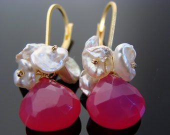 Hot Pink Chalcedony White Keshi Pearl 14 K Gold Filled Leverback Earrings
