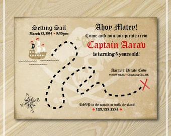 Treasure Map Invitation - Pirate Party