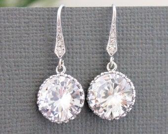 White Crystal Bridal Earrings Wedding Jewelry Teardrop Bride Earrings Cluster Wedding Earring Cubic Zirconia Stud Earring CZ Bridesmaid Gift