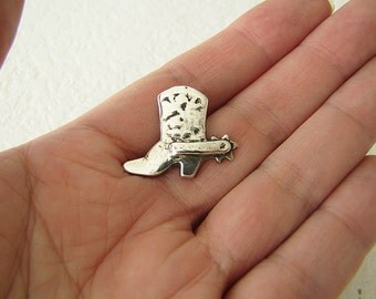 Sterling Silver bowboy boot neck tie pin, gift for dad