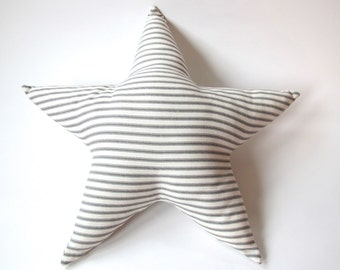 Star Pillow - Grey and White Ticking Stripe - Nursery Decor