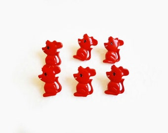 6 Mice Buttons, Red, Mouse Vintage, Kids Buttons
