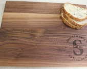 "Personalized Engraved Wood Cutting Board - Circle Monogram, Names and Date- Walnut Wood - 16"" x 12"""