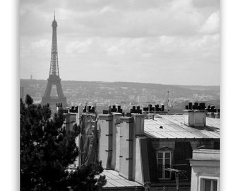 Paris Photography, Paris decor, Eiffel Tower, Montmartre, Paris rooftops, Paris photos, French decor, Eiffel decor - Photograph B&W